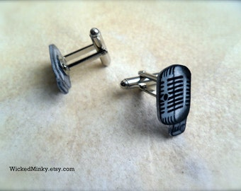 Classic vintage microphone cufflinks tattoo rockabilly style unisex fun cool