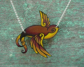 tattoo brown yellow and gold (fall earth tones) sailor jerry swallow necklace