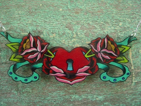 vintage tattoo rose with sacred heart with key lock and teal banner necklace