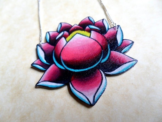 Tattoo necklace lotus birght teal hot pink NEW