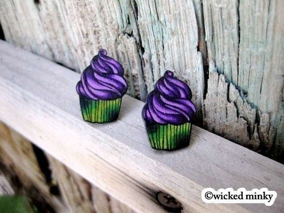 tattoo style big zombie swirly cupcake stud earrings (posts) Lime green and Purple