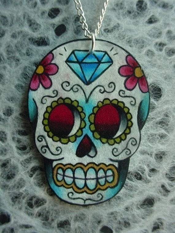 vintage tattoo style dia de los muertos (day of the dead) sugar skull with flowers and diamond necklace
