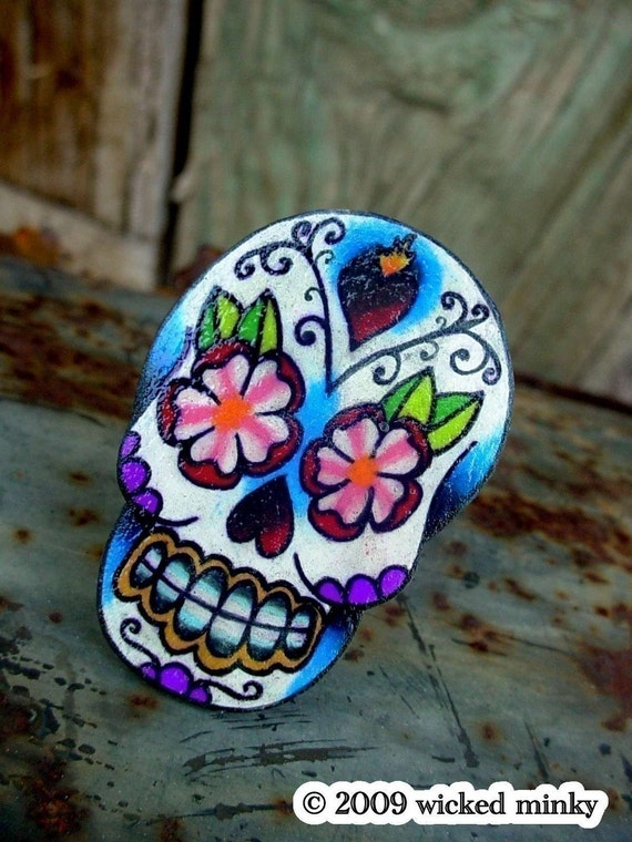 sugar skull with sacred heart and flowers tattoo ring (dia de los muertos calavera)