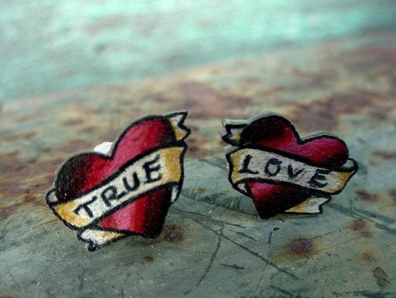 tattoo heart ear studs (posts) tiny true love
