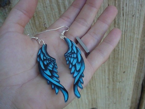 tattoo style earrings blue wings
