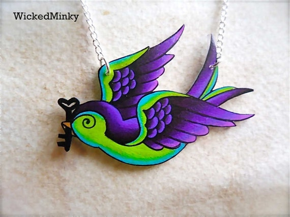 Messenger of Love...  Purple and Lime Green Tattoo Songbird with Skeleton Key Necklace silver chain