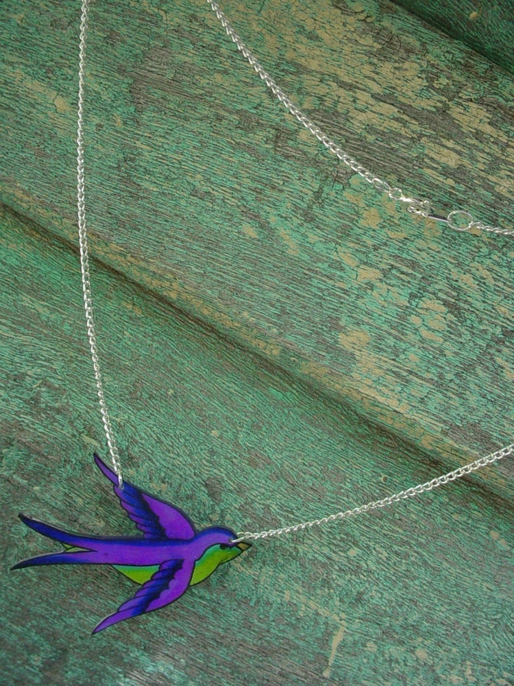 Purple And Lime Green Tattoo Songbird Necklace By Wickedminky