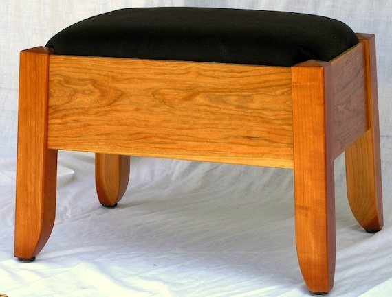 Cherry Wood and Black Leather Footstool
