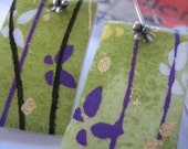 Green Chiyogami Earrings