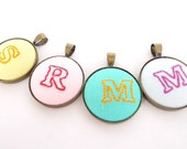 Embroidered Pendant Initial Necklace (Antique Bronze/ Silver) - Monogram Personalized Initial