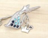 Personalized Custom Initial Key Finder - Key Fob - Key Chain - Siamese Cat - Wedding - Bridesmaid Gifts