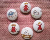 Fabric covered button - 3/4 inch sew on buttons - Mary has a Little Lamb  - set of  6