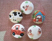 Reserved listing for mauryahagert3 7/8 inch fabric cover sew on button - Welcome to Our Farm - set of  6 Cow buttons