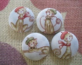 Fabric covered button - 1 1/8 inch  sew on buttons - Cats in  Paris - set of  4
