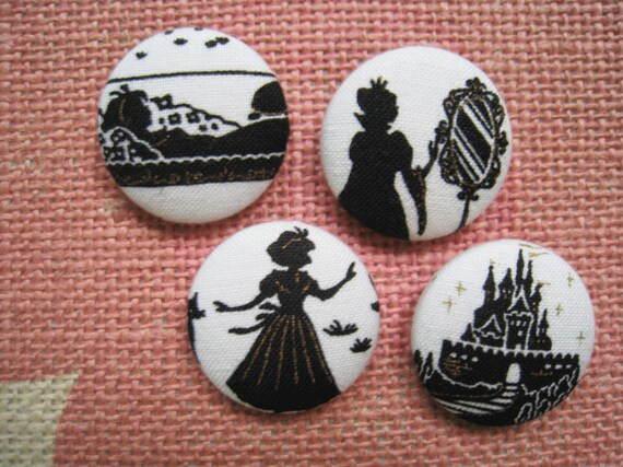 1 1inch fabric covered button sew on buttons - Snow White Shilhouette on White - set of  4