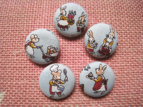 Fabric covered button - 7/8 inch sew on buttons - Lovely Rabbit and Mouse Family  on Light Teal - Set of  5