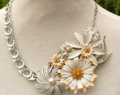 Asteraceae Daisy  repurposed vintage enamel flower pins statement necklace