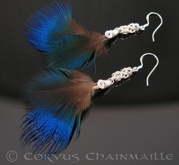 India Blue, Peacock feather earrings FREE SHIPPING