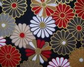 Japanese Chrysanthemum  Pattern Print Fabric 01 (Black)