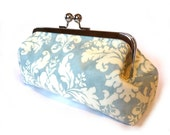 Large Frame Purse with Chain - Pale Blue and Cream Damask