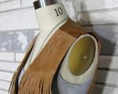 Vintage Leather Western Vest, Fringe, 80s, Camel, Textured, Snap Front, Adjustable Back