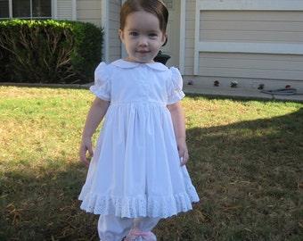 Infants White Petticoat Dress w/ Pantaloons