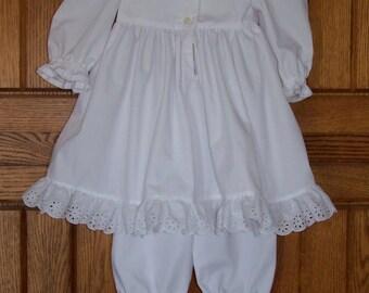 Infants white petticoat dress long sleeves w/ pantaloons