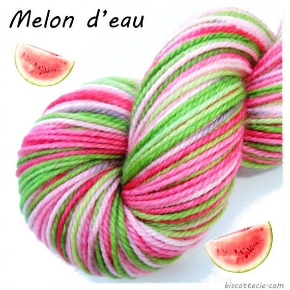 FELIX - hand dyed self striping yarn PASTEL WATERMELON