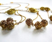 Vintage .. Necklace, Chain, Brass Filigree Beads, 3, Two Tone, 17.5 Inch