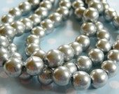 Vintage .. Glass Beads, 8mm Matte Silver