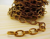 Antique Brass Chain, 3 feet, 10mm Cable link jewelry making supplies