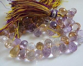 Gemstone Briolettes, Ametrine, 10 Faceted , Semi precious Briolette