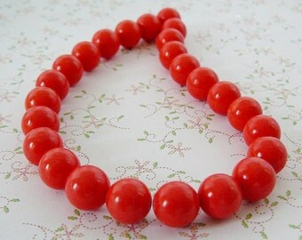 Coral  (reconstituted) 8mm Round Beads jewelry supplies beading supply