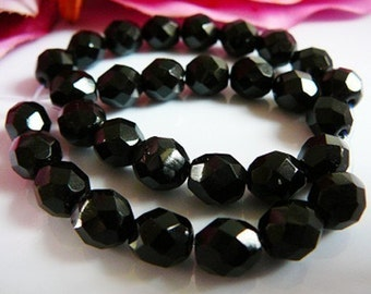Faceted Bead, Jet Black Czech Glass, 8mm beading jewelry supplies