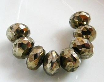 Pyrite Faceted Bead, Gemstone, 8mm Rondel, Spacer