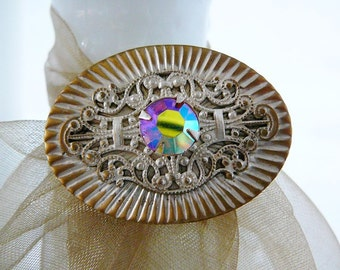Vintage ..  Brooch, Crimped Oval with AB Rhinestone Center