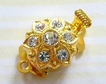 Clasp, Single Strand Goldtone, Czech Rhinestones jewelry supplies