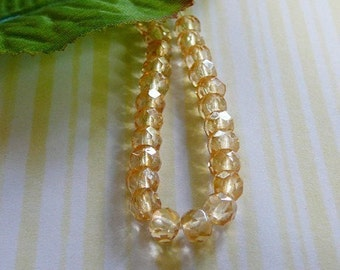 Light Amber Bead, Faceted Czech Glass Rondel .. Spacer beads