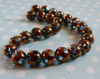 Copper Over Blue Glass Beads, 8mm Round
