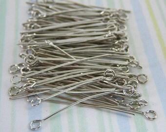 1 inch (28mm) RHODIUM  Eye Pin bead findings jewelry supplies