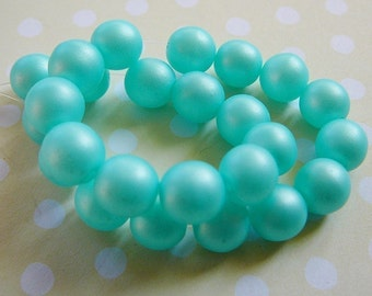 Vintage .. Beads, Czech Glass, Matte Aqua Ice Beads, 8mm