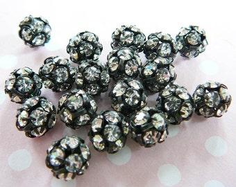 2 Czech Rhinestone Bead, 8mm Disco Ball Beads, Clear crystal Gunmetal Frame