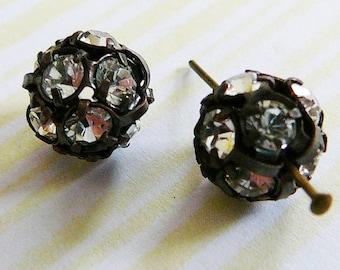 Czech Rhinestone Bead 10mm, Disco Ball Clear, Antique Copper Frame