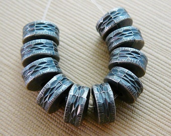 Vintage .. Bead, 8mm Gunmetal Gray Rondel Spacer, Thatched Tire Grey Beads