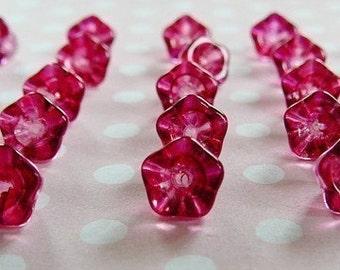 Czech Glass Bead, Fuschia Pink Trumpet Flower 8/6 Beads