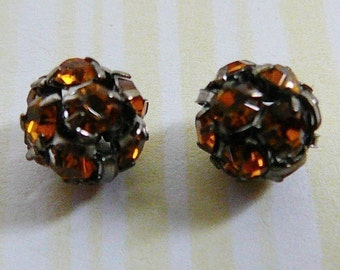 Czech Rhinestone Bead 8mm Disco Ball Honey Yellow Beads