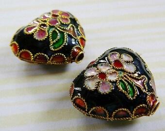 Heart Bead, Black Gloss Cloisonne, Accent Focal flower love