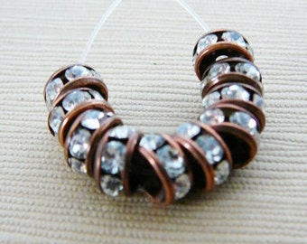 Bead Clear Czech Rhinestone 6mm Rondel Spacer with Antiqued Copper Frame
