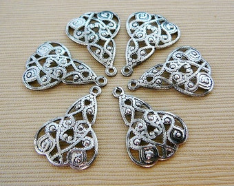 Beads, Link, Stamp, Triangle Filigree Stamping, Antiqued Silvertone