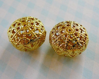 Vintage .. Beads, Goldtone Filigree, Round Puff jewelry supplies beading supply